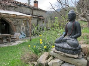 Italy Yoga Retreat with Ramila in June 2017-Budha at Casalino in beautiful garden