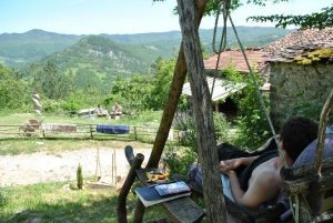 Italy Yoga Retreat with Ramila in June 2017-Relaxing in swing at Casalino overlooking beautiful mountains and scenery
